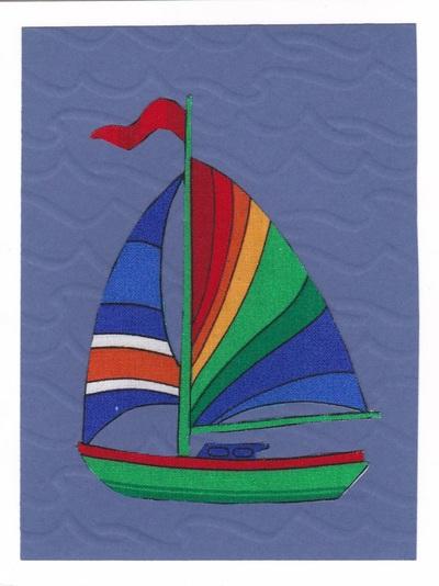 handmade fabric sailboat birthday card