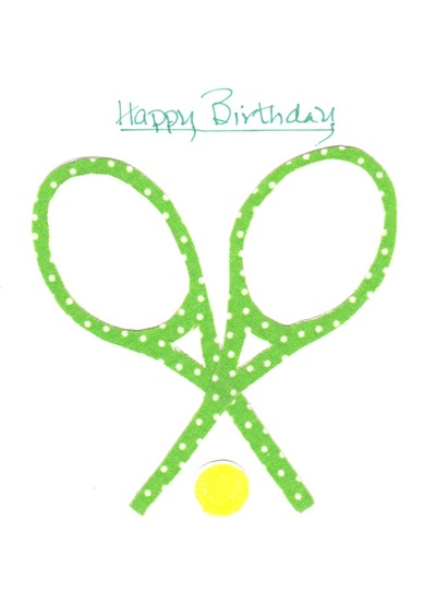 Fabric birthday cards for all sports including tennis a tennis birthday card hand made with a little luv the hand cut fabric designs are applied to 4 12x6 folded white card stock and the hand printed m4hsunfo Choice Image