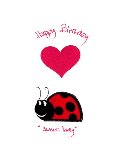 Handmade fabric birthday greeting card for a sweet little lady – Ladybug Birthday Cards