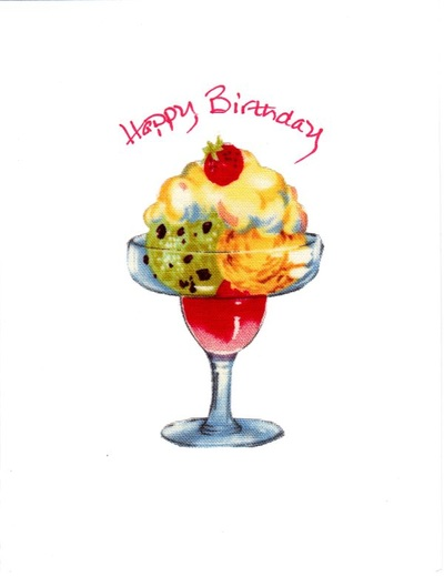 Handmade Fabric Ice Cream Sundae Birthday Card And Message For That