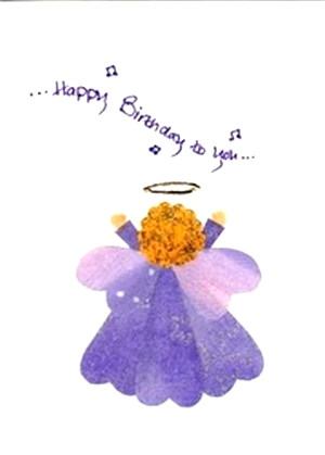 Original fabric hearts angel birthday greeting card m4hsunfo