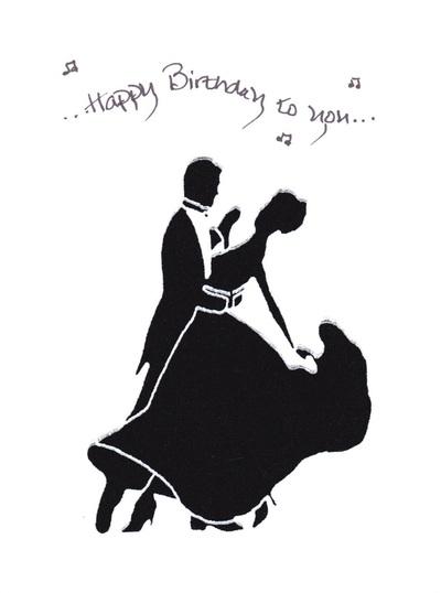 fabric ballroom dancer birthday greeting card and message