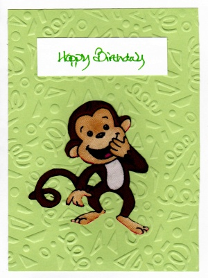 Fabric Monkey Birthday Card And Message For A Monkey Shiner