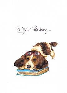 Book loving pup
