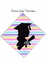 Female Graduation Silhouette/Rainbow