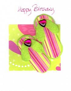 Green/pink  Flip Flops