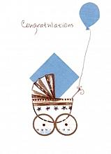 Baby carriage/blue balloon