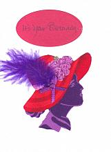 Handmade Red Hat Birthday Card personalized for her
